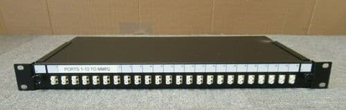 "24 Port 19"" 1U Rack Mount Fibre Optic Patch Panel LC Multimode Adapters"